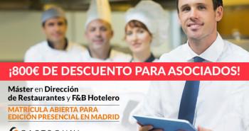 Descuento para socios en la V Edición del Máster en Dirección de restaurantes de Gastrouni - Hostelería Madrid