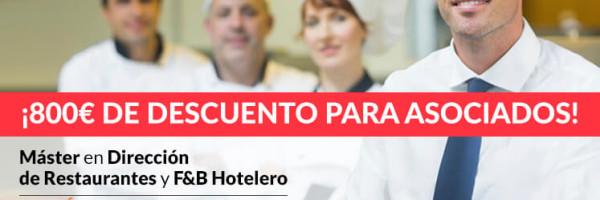 Descuento para socios en la V Edición del Máster en Dirección de restaurantes de Gastrouni