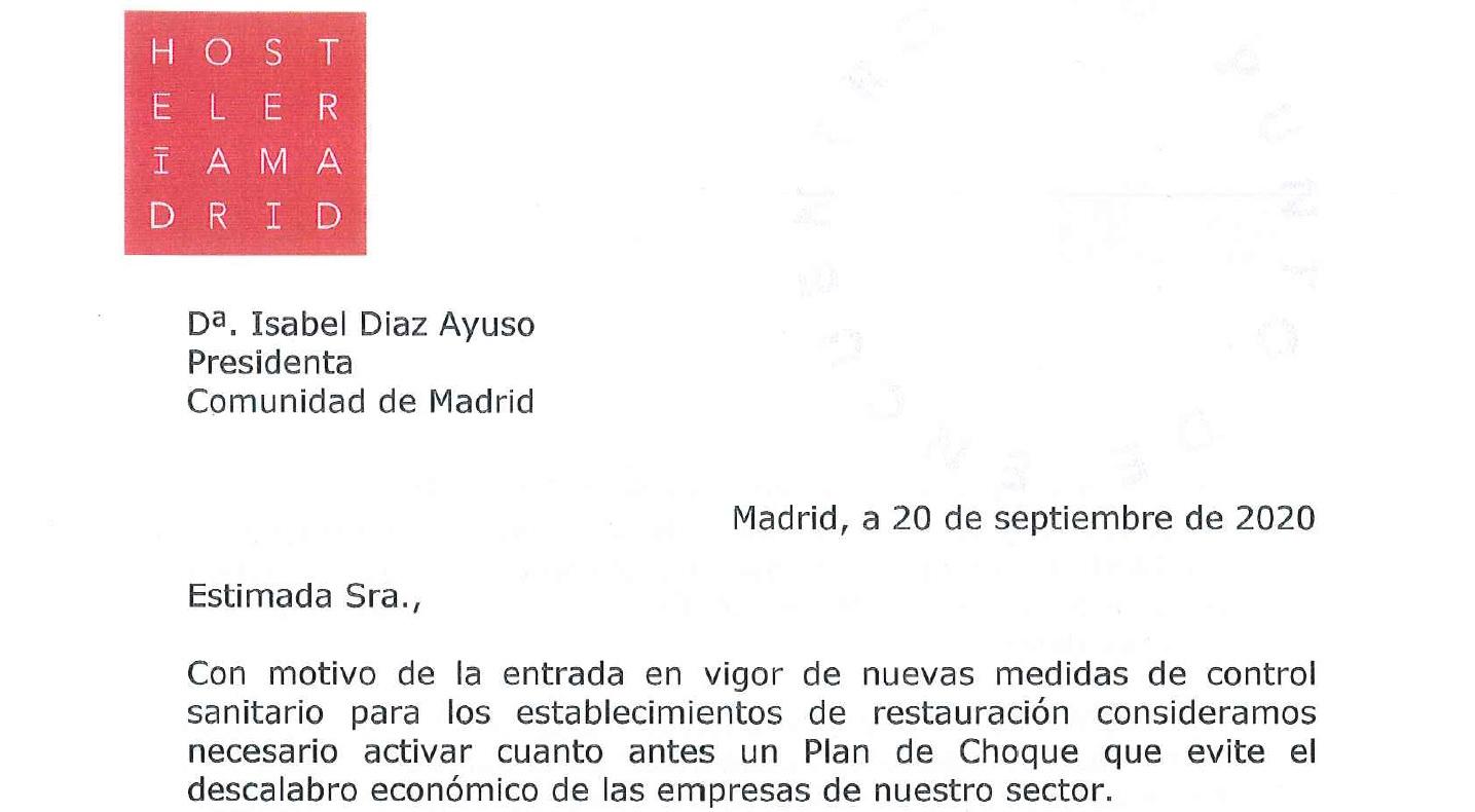 Hostelería Madrid remite una carta a la presidenta de la Comunidad de Madrid para solicitar las ayudas compensatorias - La Viña